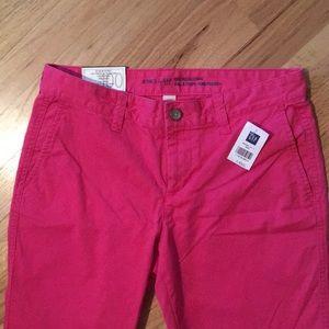 GAP Girlfriend Pink Khaki Chopped Pants Size 0